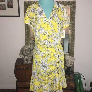 AMAZING yellow floral dress sz Medium
